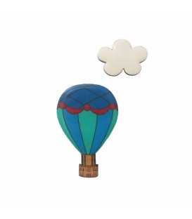 Hot Air Balloon (Blue, Aqua and Red) Brooch