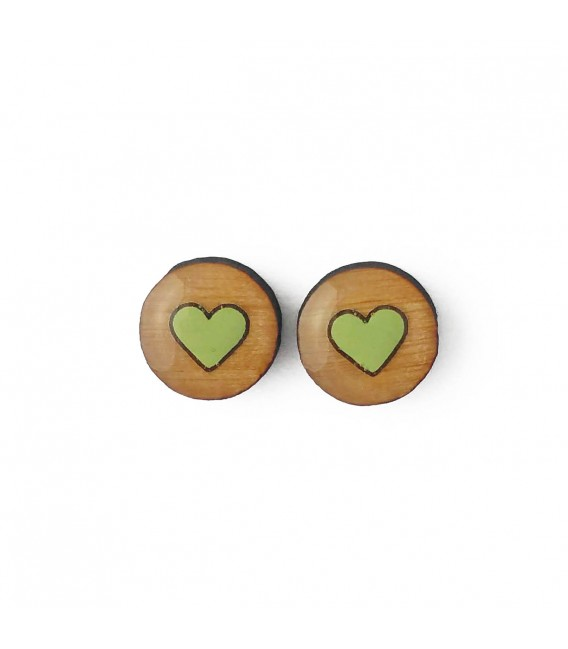Heart Earrings - Green