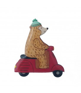 Scooter Bear Brooch