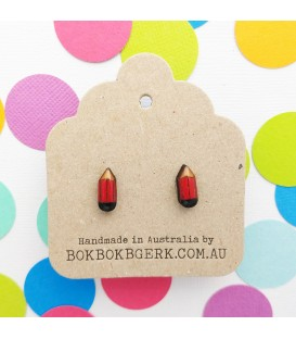 Pencil Earrings (Red)