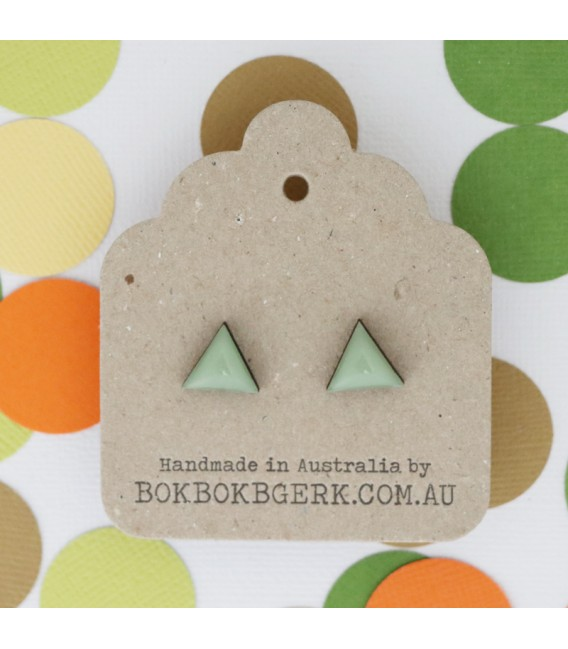 Triangle Earrings (Dusty Green)