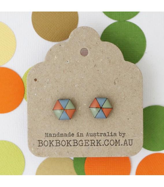 Hexagon Earrings (Dusty Orange, Blue and Green)