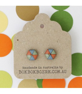 Hexagon Earrings (Dusty Orange, Blue and Green)