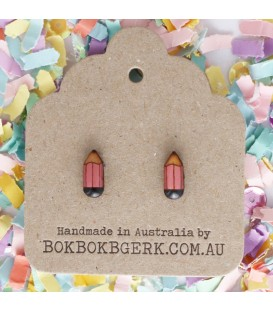 Pencil Earrings (Pink)