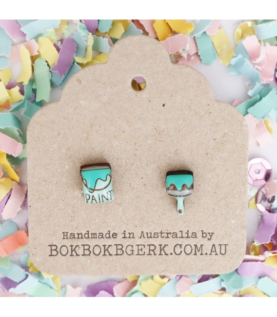 Paint Brush and Can Earrings (Aqua)