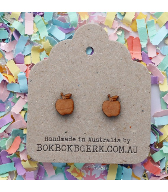 Wooden Apple Earrings
