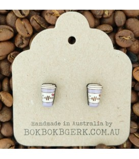 Coffee Cup Earrings (Purple)
