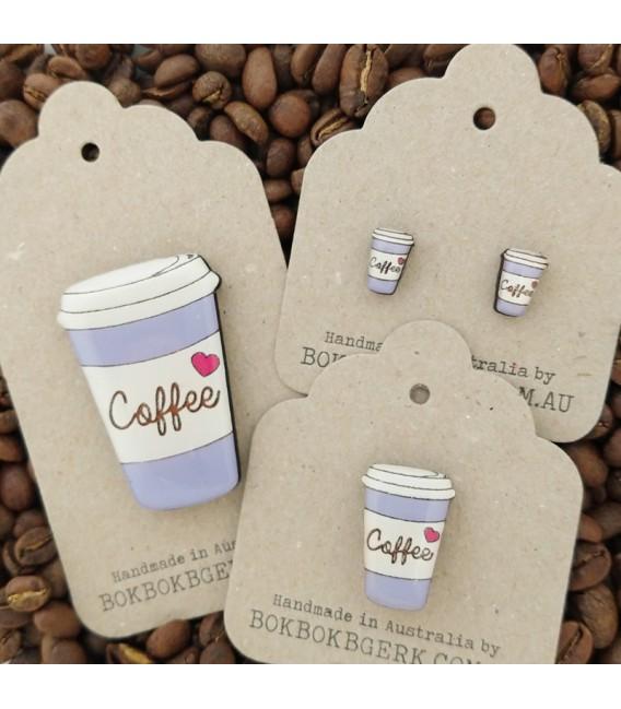 Coffee Cup Lapel Pin (Purple)
