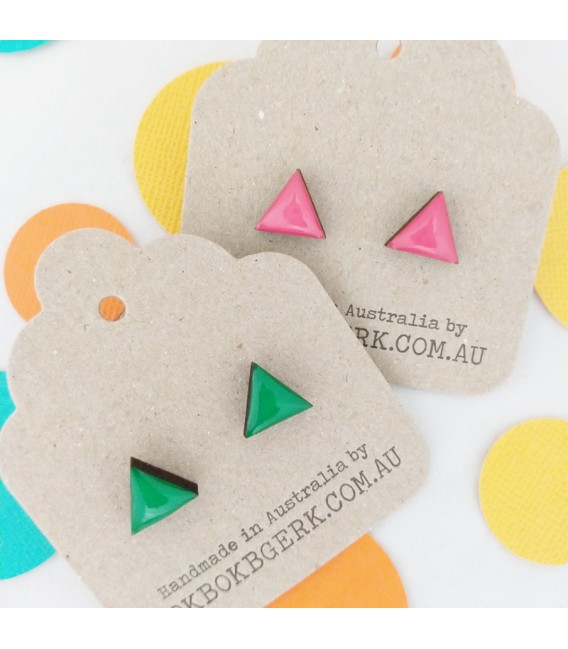 Triangle Earrings (Emerald Green)