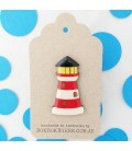 Lighthouse Brooch - Red