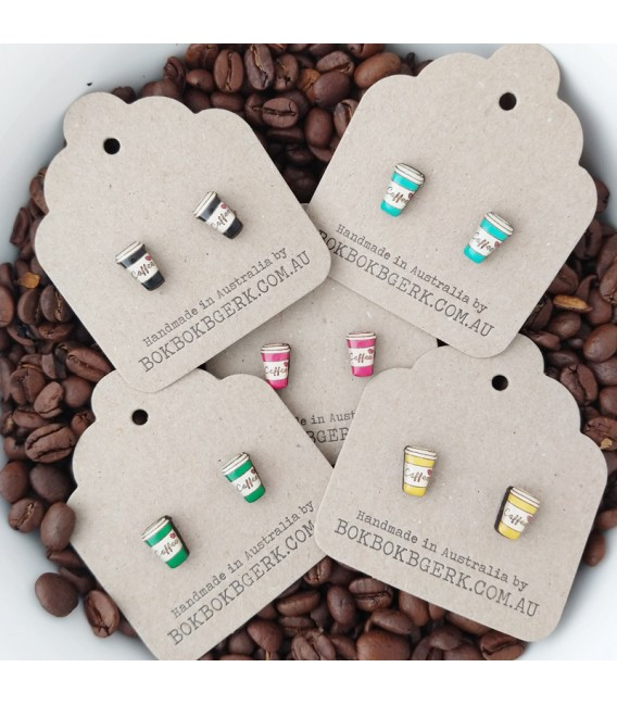 Coffee Cup Earrings (Green)
