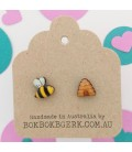 Bee and Hive Earrings (Bee may face to the left or to the right)