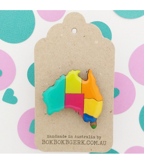 Australiana - Map of Australia Brooch (Painted)
