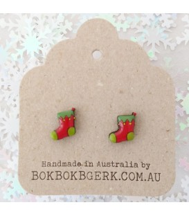 Christmas Stocking Earrings (Red and Green)