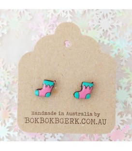 Christmas Stocking Earrings (Pink and Aqua)