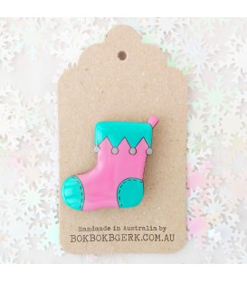 Christmas Stocking Brooch (Pink and Aqua)