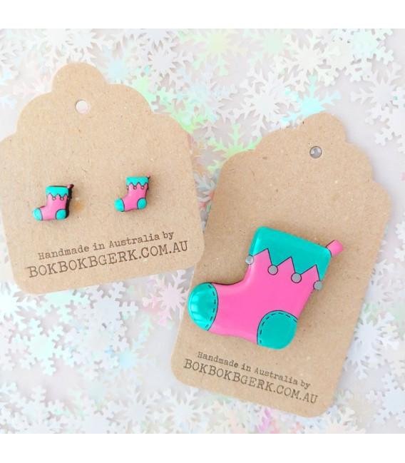 Christmas Stocking Brooch (Pink and Aqua)