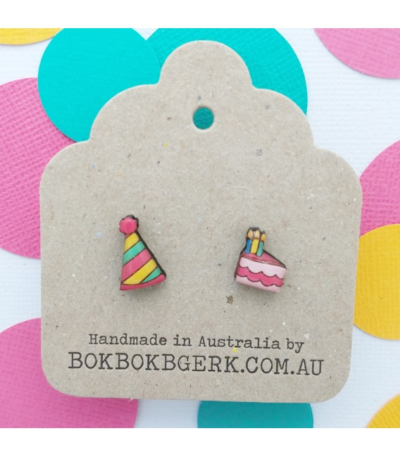 Party Hat and Birthday Cake Earrings