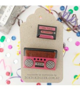 Boom Box and Cassette Tape Brooch