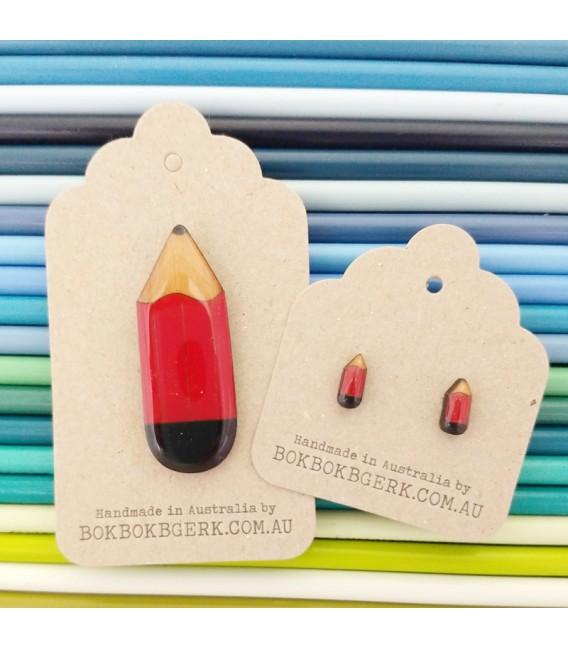 Pencil Earrings (Red)