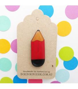Pencil Brooch (Red)