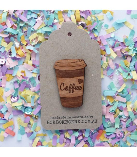 Wooden Coffee Brooch
