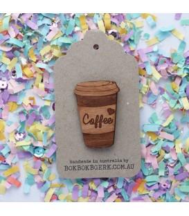 Coffee Brooch (Wooden)