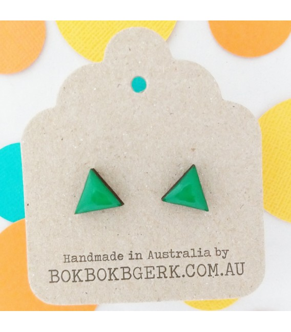 Triangle Earrings (Emerald Green)