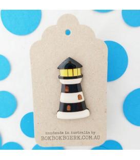 Lighthouse Brooch - Black