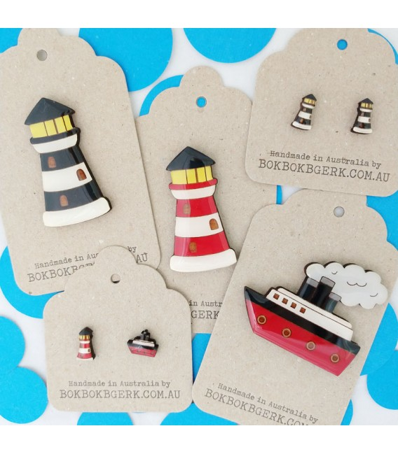 Lighthouse and Ship Earrings - Black