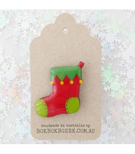 Christmas Stocking Brooch (Red and Green)