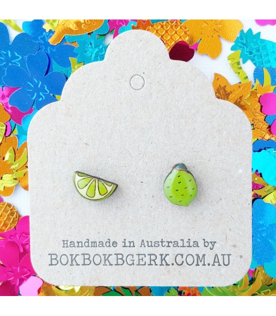 Lime/Lime Wedge Earrings