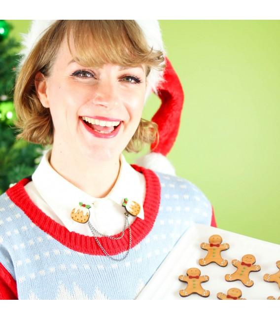 Christmas Pudding Cardigan Clips