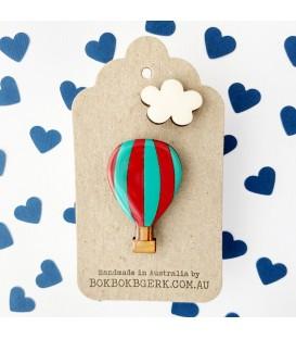 Hot Air Balloon (Aqua and Red) Brooch