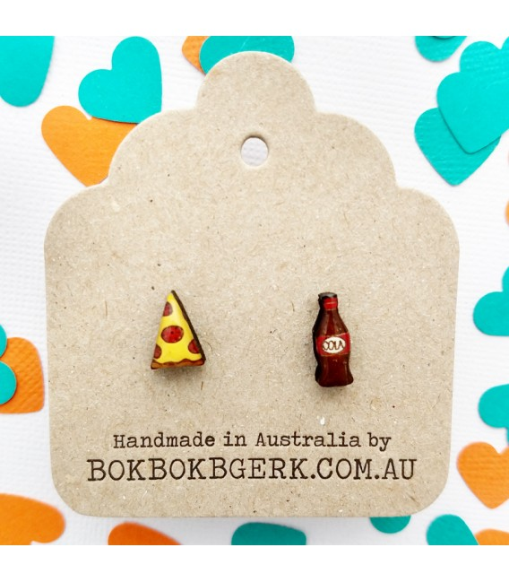 Pizza and Softdrink Earrings