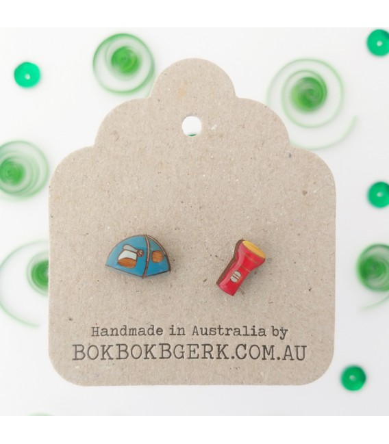 Tent and Torch Earrings