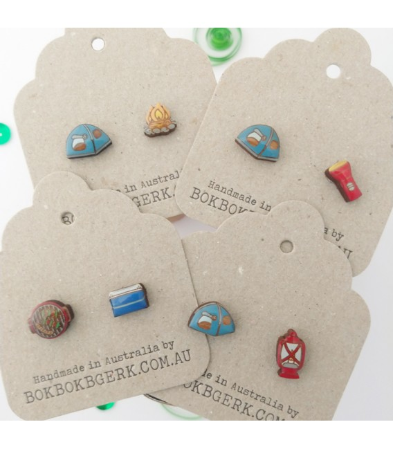 Tent and Campfire Earrings