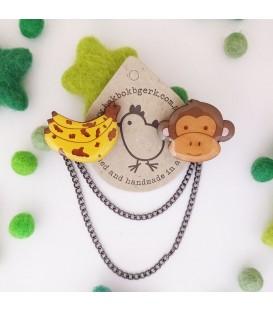 Monkey and Banana Cardigan Clips