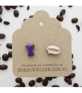 Coffee Pot Earrings (Dark Purple)