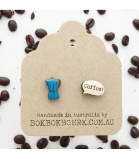 Coffee Pot Earrings (Blue)