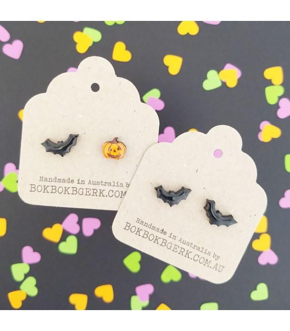 Jack O'Lantern/Bat Earrings