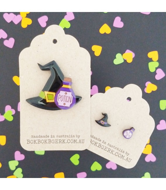 Witch Hat/Potion Earrings