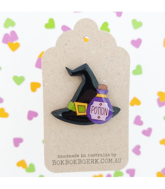 Witches Hat and Potion Brooch