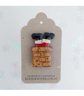Christmas Santa Stuck in Chimney Brooch