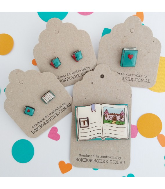 Mismatched Book Earrings