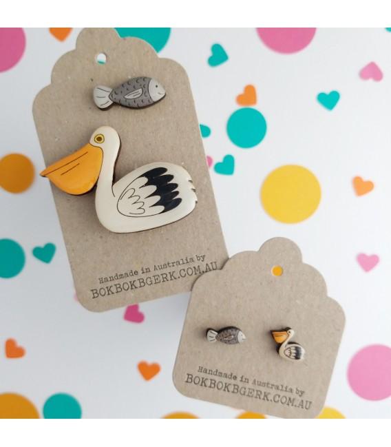 Pelican and Fish Earrings